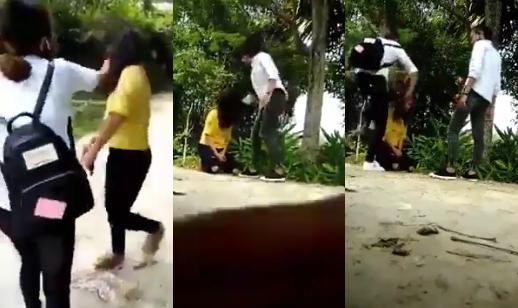 Nữ sinh áo vàng bị đánh liên tiếp (ảnh: cắt từ clip).