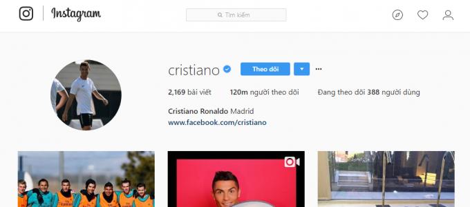 Ronaldo có dấu tick xanh từ lâu lắm rồi.