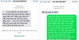 Chị T. nhận được nhiều tin nhắn chửi bới và đe dọa từ nhiều số điện thoại lạ.