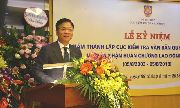 Bộ trưởng Lê Thành Long chúc mừng Cục kiểm tra VBQPPL.