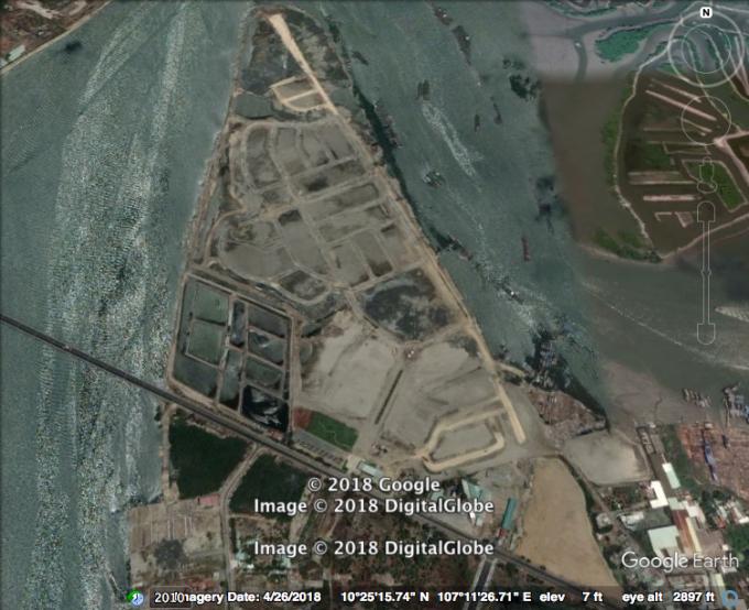 Hình ảnh thực tếDự án Marine City nhìn từ vệ tinh cho thấy: Phần đất UBND huyện Long Điền ra quyết định cưỡng chế hiện nằm gọn trong Dự án