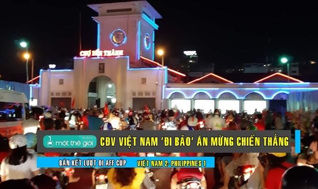 CĐV Việt Nam tại trung tâm TP.HCM - Ảnh: T.V