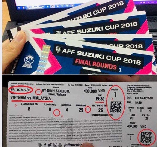 Cách phân biệt vé thật, giả trận chung kết lượt ĐT Việt Nam và Malaysia