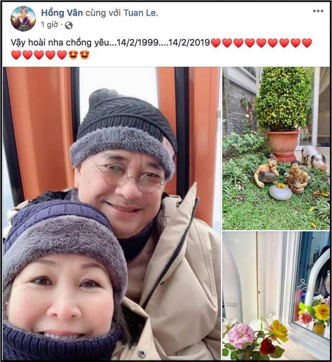 Vợ chồng nghệ sĩ Hồng Vân - nam diễn viên Lê Tuấn Anh hạnh phúc đón ngày Valetine lần thứ 20 bên nhau.
