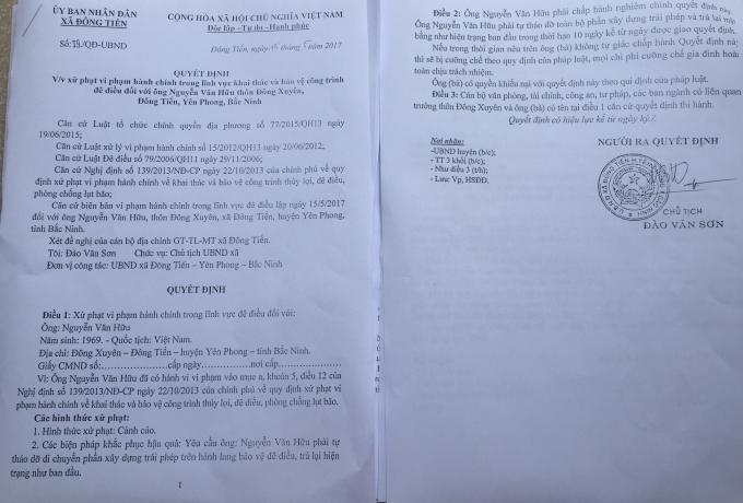 Quyết định xử phạt hành chính trong lĩnh vực khai thác và bảo vệ công trình đê điều của UBND xã Đông Tiến.