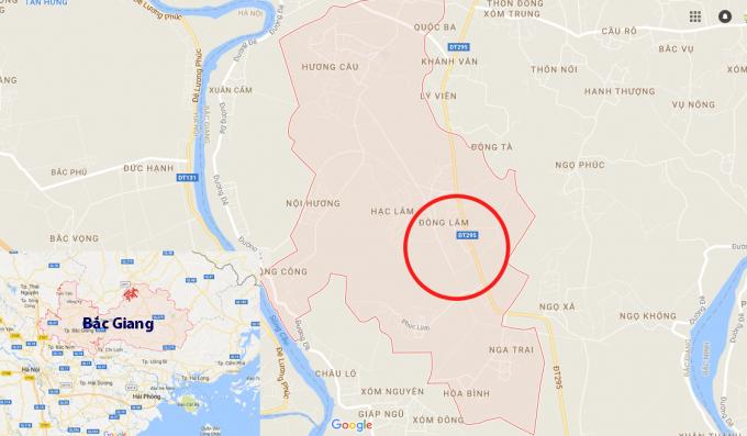 Xã Hương Lâm (màu hồng) nơi xảy ra vụ tai nạn khiến người phụ nữ tử vong.