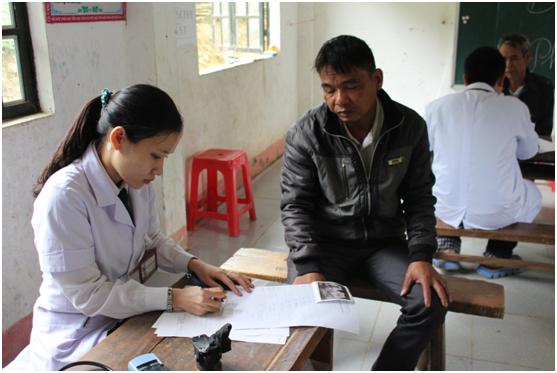 Đoàn bác sĩ đang khám tổng quát cho các cụ già ở xã Lượng Minh.
