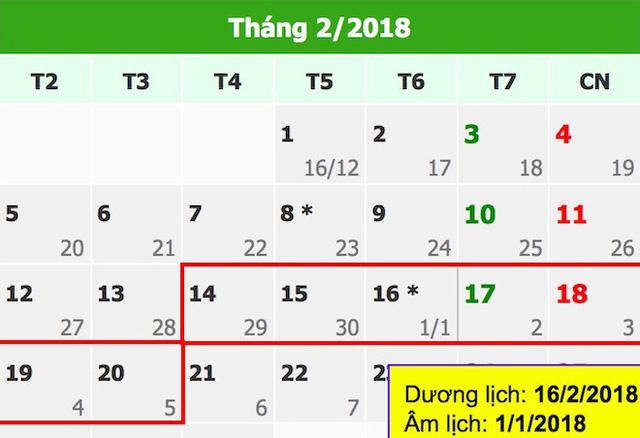 Lịch nghỉ Tết nguyên đán Mậu Tuất 2018.