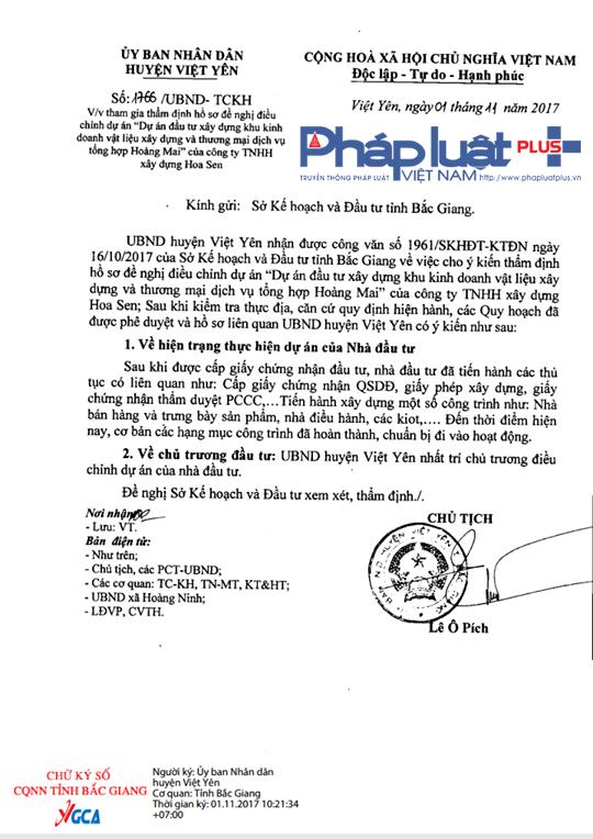 Văn bản UBND huyện Việt Yên gửi Sở Kế hoạch và Đầu tư tỉnh Bắc Giang.