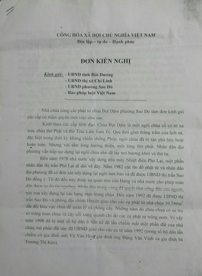 Đơn các phật tử chùa Bụt Dậm gửi báo Pháp Luật Việt Nam.