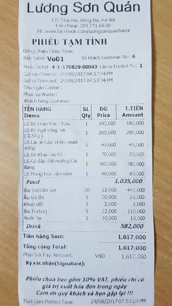Hoá đơn thanh toán của khách hàng của nhà hàng Lương Sơn Quán sau khi nhà hàng bị yêu cầu dừng hoạt động.