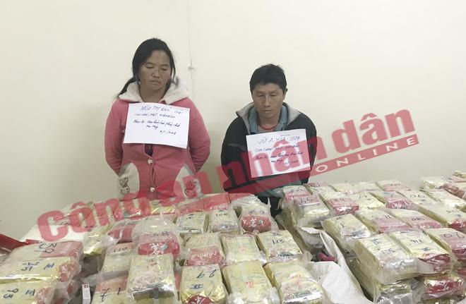 Đôi vợ chồng vận chuyển lượng ma túy lớn nhất Việt Nam từ trước đến giờ bị bắt giữ. Ảnh:CAND