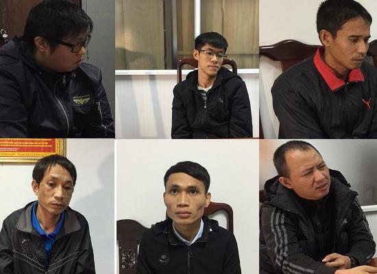 Một số đối tượng trong nhóm bị bắt tại cơ quan công an.