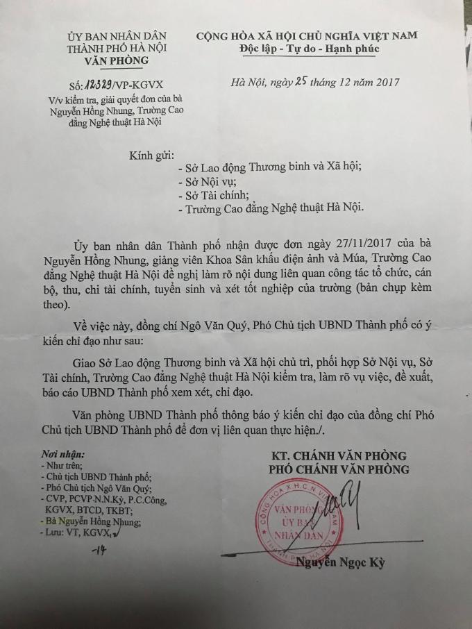 Phó Chủ tịch UBND TP Hà Nội ông Ngô Văn Quý tiếp tục có văn bản chỉ đạo các sơ liên quan của TP Hà Nội giải quyết kiến nghị của chị Nhung.