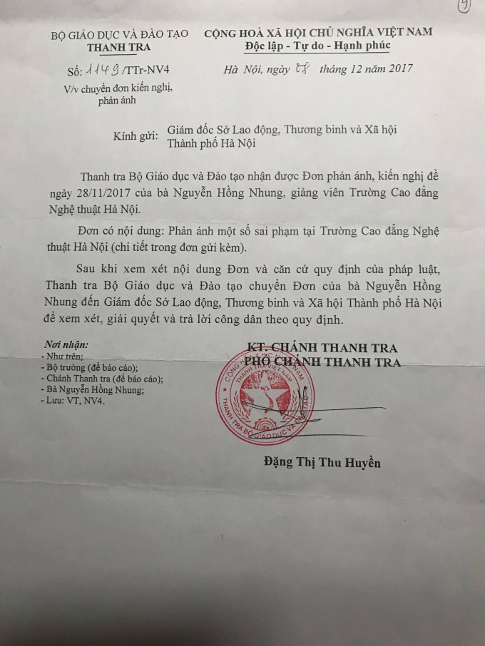 Thanh tra Bộ Giáo dục và Đào tạo cũng có văn bản chuyển nội dung chị Nhung kiến nghị đến Trường Cao đẳng Nghệ thuật Hà Nội.