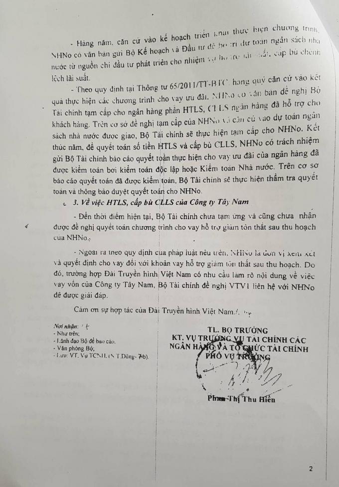 Văn bản Bộ Tài chính gửi Đài truyền hình Việt Nam khẳng định nhà nước không bị thiệt hại trong khoản vay (ảnh do ông Nguyễn Văn Kịch cung cấp).