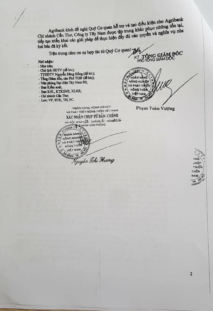 Văn bản số 2203/NHNo-PC và văn bản số 653/HĐTV-KHL gửi Thành Uỷ, Chủ tịch UBND, Giám đốc Công an, Viện trưởng VKSND TP Cần Thơ.