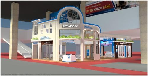 Khu trưng bày sản phẩm của Eurowindow tại Vietbuild Hà Nội 2018.