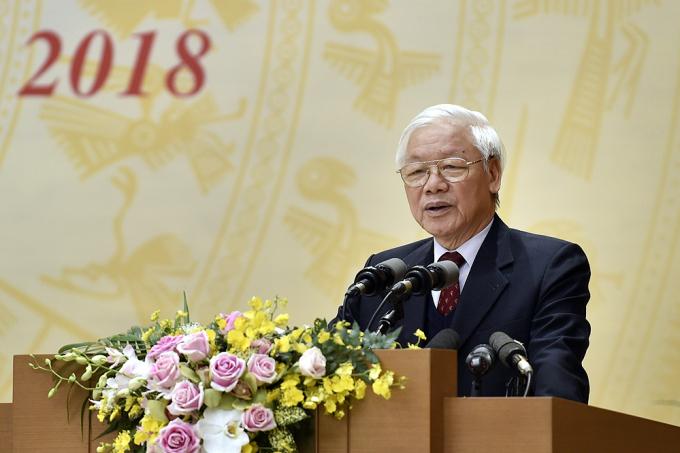 Tổng Bí thư, Chủ tịch nước Nguyễn Phú Trọng yêu cầu phải kiên quyết, năng động, sáng tạo lãnh đạo, chỉ đạo tổ chức chức thực hiện có kết quả cụ thể các nhiệm vụ, giải pháp đã đề ra. Ảnh: VGP/Nhật Bắc