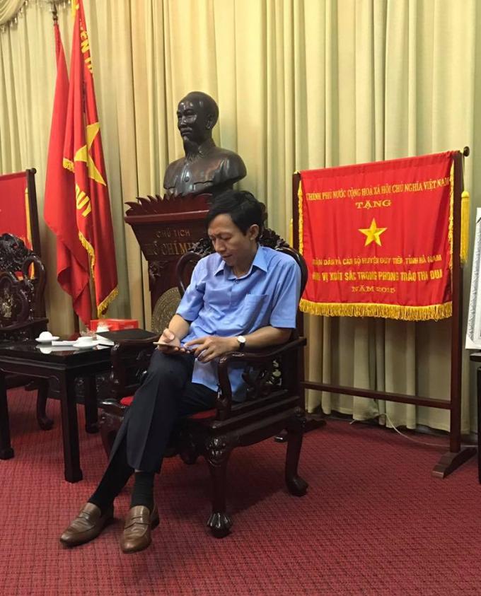 Ông Phạm Hồng Thanh - Chủ tịch UBND huyện Duy Tiên, Hà Nam trong buổi trao đổi với PV.