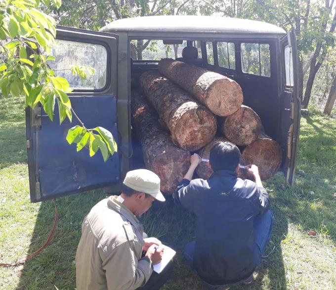 Cơ quan chức năng thu giữ chiếc xe và một số gỗ khai thác trái phép.