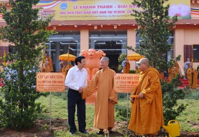 Hai cây vạn niên tùng được nguyên chủ tịch nước Trương Tấn Sang trồng trước tòa nhà Hành chính của Học viện.