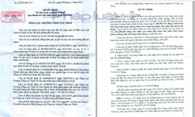 Quyết định của Tổng cục thuế ngày 27/11/2015 đối với CTCP Điện Quang.