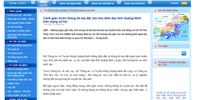 Thông tin cảnh báo được đăng tải trên Cổng thông tin điện tử tỉnh Quảng Ninh.
