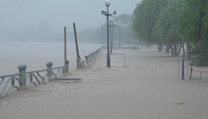 Tỉnh lộ 330trên địa bàn huyện Ba Chẽ ngập sâu trong nước.