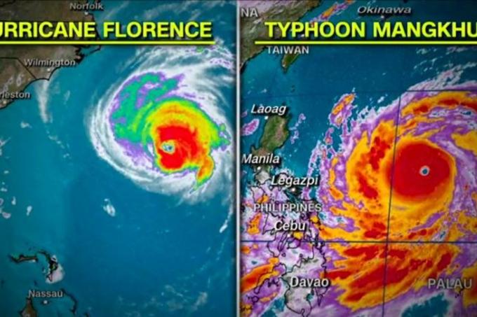 Ảnh vệ tinh bão Florence và bão Mangkhut. Ảnh: CNN.