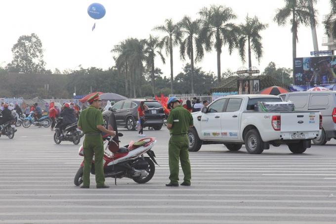 Lực lượng an ninh được bố trí để đảm bảo an ninh trật tự.