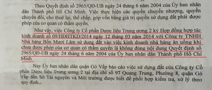 """Một đoạn báo cáo trong văn bản 331/BC-UBND ngày 31/12/2014 của UBND quận Gò Vấp khẳng định, Công ty CP Dược Liệu TW 2 tự ý chia đất, """"hợp tác kinh doanh"""" chưa có sự cho phép của cơ quan có thẩm quyền."""