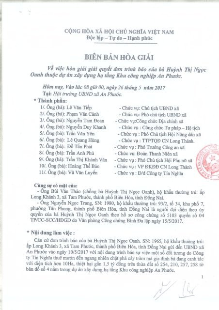 Biên bản hòa giải ngày 26/5 được bà Oanh yêu cầu hủy bỏ.