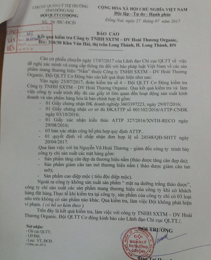Báo cáo của đoàn kiểm tra về Công ty Hoài Thương.