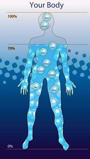 Trong cơ thể chúng ta chiếm 70% là nước.