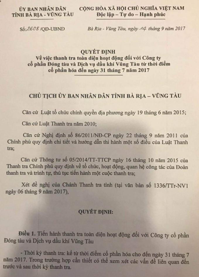 Quyết định thanh tra của UBND tỉnh Bà Rịa - Vũng Tàu đối với VTSC.