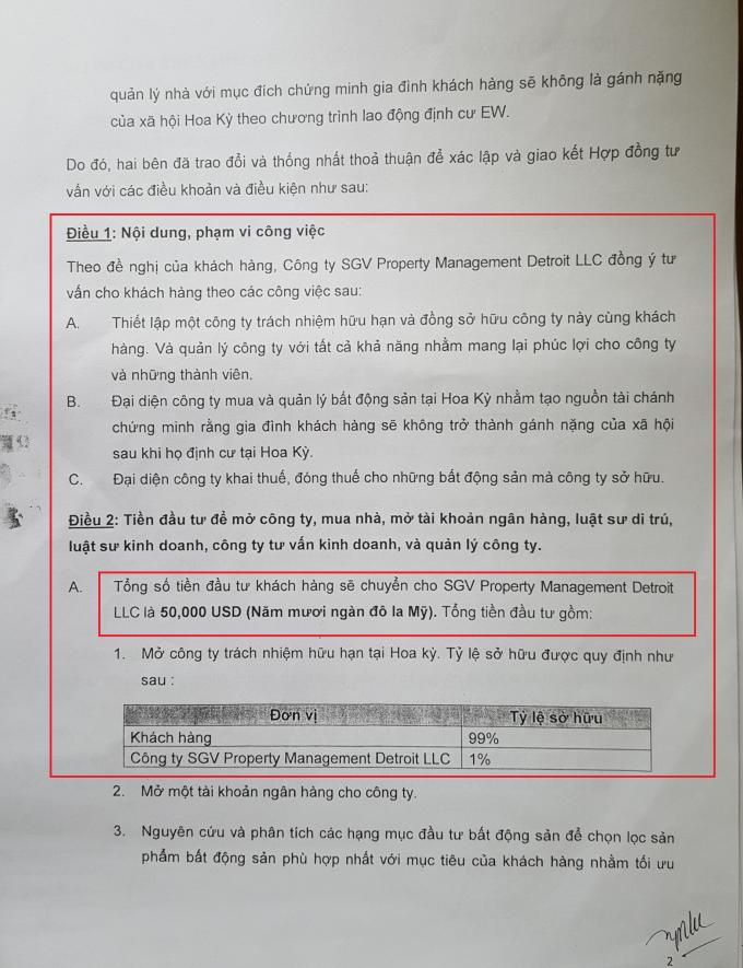 Theo hợp đồng, chị T. phải chuyển cho Công ty SGV Property 50.000USD để thành lập công ty và mua nhà