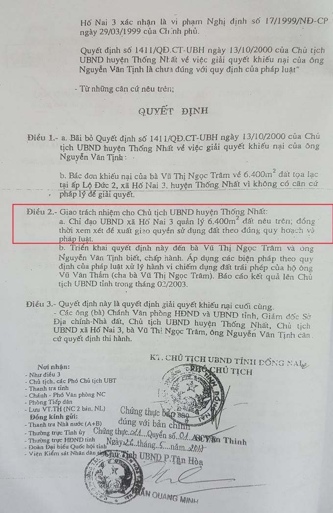 Quyết định của UBND tỉnh giao đất cho UBND xã Hố Nai 3 quản lý.
