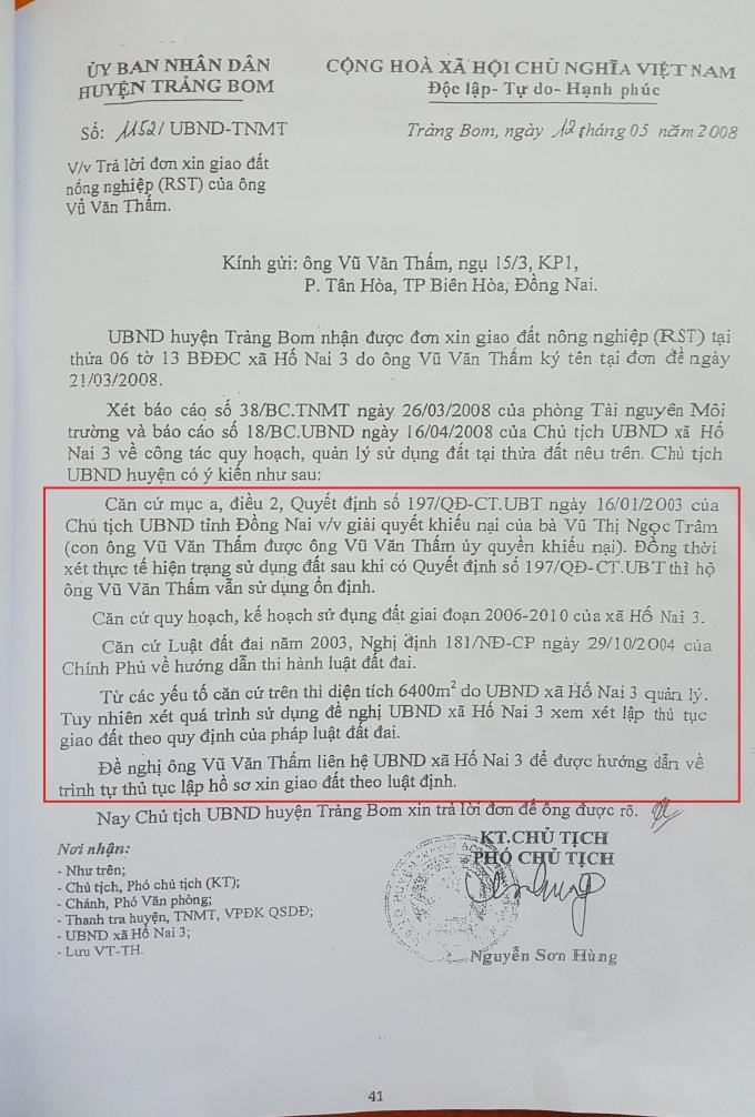 Quyết định của UBND huyện Trảng Bom cho rằng sau Quyết định số 197 của UBND tỉnh thì ông Thấm vẫn quản lý đất và sử dụng