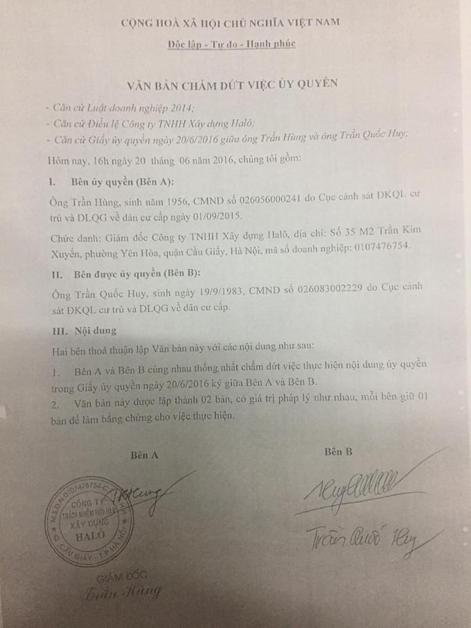 Văn bản chấm dứt ủy quyền