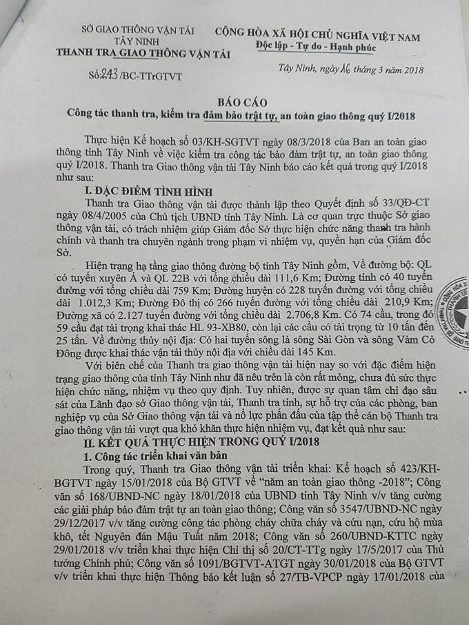 Báo cáo thanh tra, kiểm tra quý I/2018 của Thanh tra Sở GTVT tỉnh Tây Ninh.