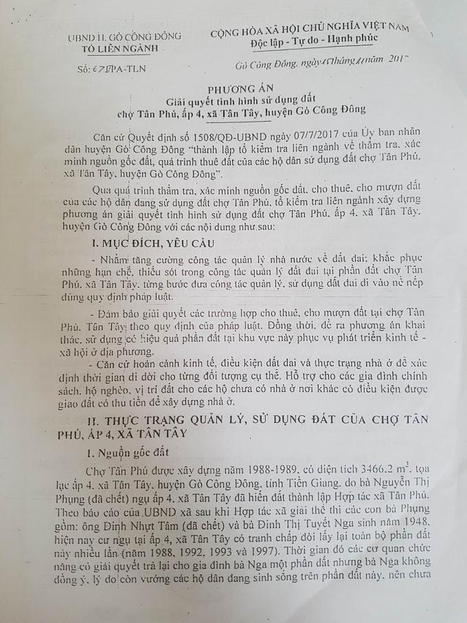 Văn bản số 675/PA-TLN của tổ liên ngành huyện Gò Công Đông.