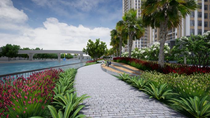Gem Riverside có công viên dọc bờ sông dài hơn 1km.