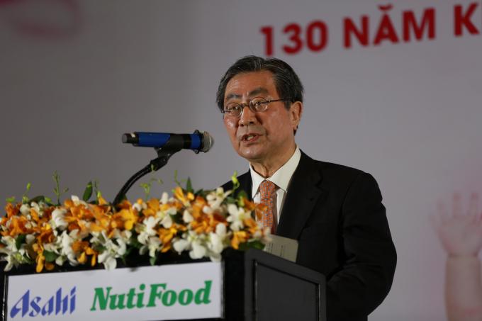Đại diện củaAsahi Group Foods chia sẻ tại buổi ký kết hợp tác.