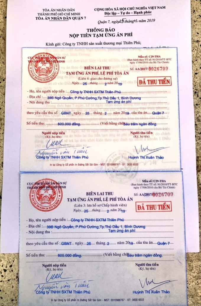 Công ty Thiên Phú đã khởi kiện Công ty đấu giá Nam Sài Gòn.
