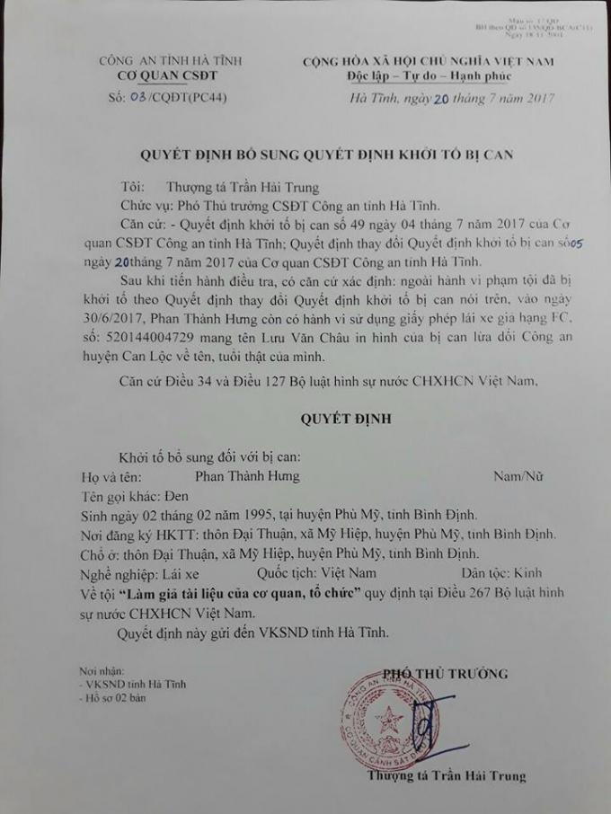 Quyết định bổ sung khởi tố tài xế Phan Thành Hưng về tội