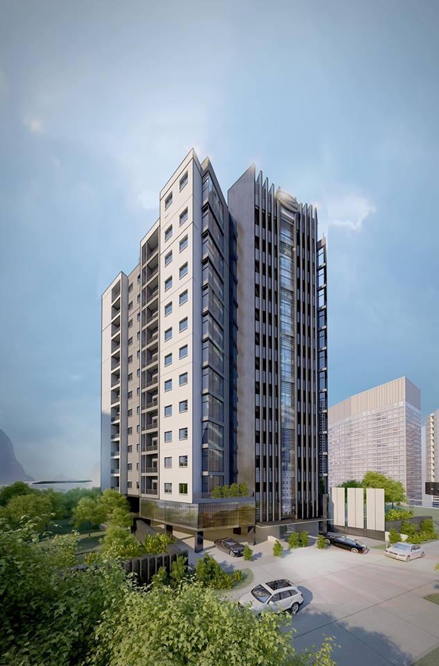Phối cảnh tòa nhà chung cư Winhouse Hàm Nghi tại Hà Tĩnh rất hoành tráng với 130 căn hộ nhưng diện tích mặt sàn xây dựng thực tế chỉ 681,7 m2.