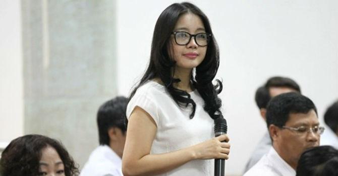 Vợ bầu Kiên, bà Đặng Ngọc Lan, tại phiên tòa xét xử chồng mình.