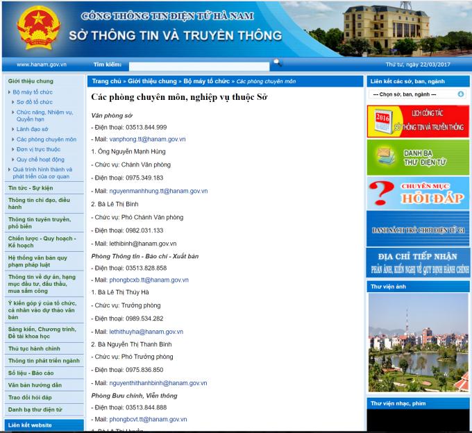 Ảnh chụp màn hình từ Cổng thông tin điện tử Sở Thông tin và Truyền thông tỉnh Hà Nam.