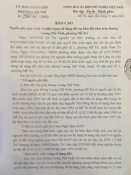 Báo cáo của UBND phường Mễ Trì báo cáo, do ông Đào Tăng Quýnh ký và đóng dấu.